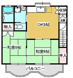 コーポアイ 敷金・礼金0円[202号室号室]の間取り