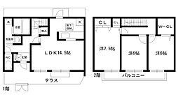 [テラスハウス] 兵庫県西宮市段上町2丁目 の賃貸【/】の間取り