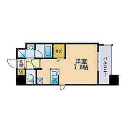 ザ・レジデンス博多 9階ワンルームの間取り