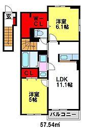 リンデンハウスII[2階]の間取り