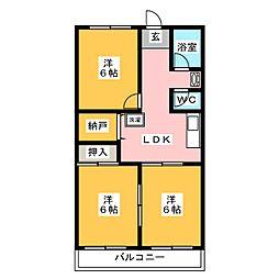 高関コーポ[3階]の間取り