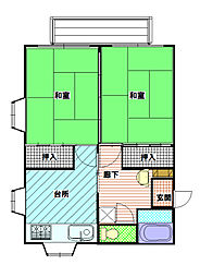 長野県飯田市上郷黒田の賃貸アパートの間取り