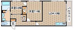 阪急神戸本線 王子公園駅 徒歩11分の賃貸マンション 2階2LDKの間取り
