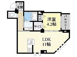 ヴィラモンシャン塚本 1階1LDKの間取り