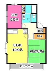 埼玉県所沢市北中2丁目の賃貸アパートの間取り