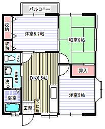 神奈川県横須賀市上町1丁目の賃貸アパートの間取り