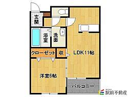西鉄天神大牟田線 津福駅 徒歩10分の賃貸アパート 1階1LDKの間取り