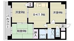 鶴見緑地ハイツ弐番館[9B号室]の間取り
