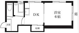 東京都新宿区高田馬場4丁目の賃貸アパートの間取り