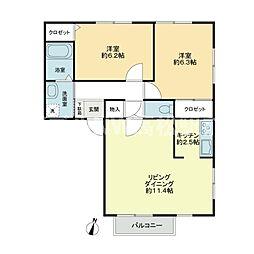 フォブールTAKA B棟[1階]の間取り