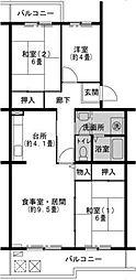 兵庫県神戸市北区鹿の子台北町2丁目の賃貸マンションの間取り