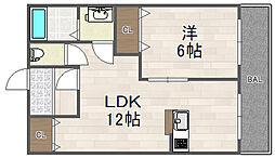 兵庫県川西市南花屋敷2丁目の賃貸アパートの間取り