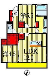千葉県船橋市古作4丁目の賃貸アパートの間取り