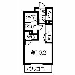 AXIA 亀島 4階1Kの間取り