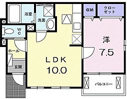 JR山陽本線 須磨駅 徒歩14分の賃貸アパート 1階1LDKの間取り