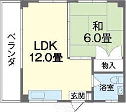 幸アパート 2階1LDKの間取り