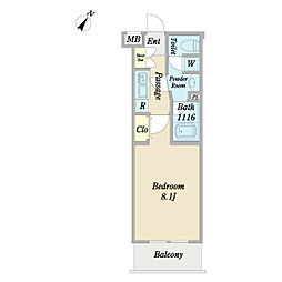 ディアレイシャス経堂 4階1Kの間取り