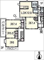 [タウンハウス] 愛知県名古屋市名東区社が丘3丁目 の賃貸【/】の間取り