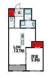 クレアシオンB棟 1階1LDKの間取り