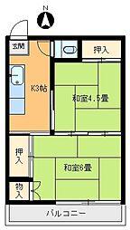第一栄荘[102号室]の間取り