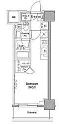 ザ・パークハビオ西大井 3階ワンルームの間取り