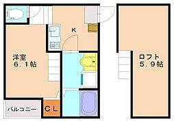 仮称)井尻4丁目新築アパートA[2階]の間取り