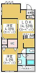 埼玉県川口市南鳩ヶ谷4丁目の賃貸アパートの間取り