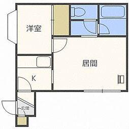 北海道札幌市西区二十四軒二条4丁目の賃貸アパートの間取り