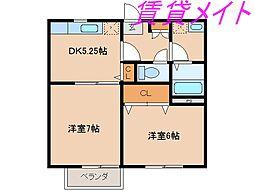 コーポMEIWA A・B[2階]の間取り