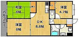 エンゼルハイム大濠公園[3階]の間取り