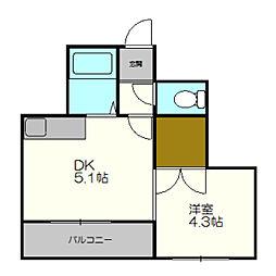 北海道札幌市白石区栄通21丁目の賃貸マンションの間取り
