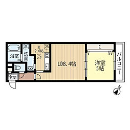 JR函館本線 発寒中央駅 徒歩7分の賃貸マンション 4階1LDKの間取り