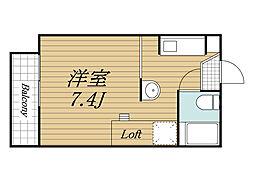 JR成田線 成田駅 バス24分 末広下車 徒歩3分の賃貸アパート 1階1Kの間取り