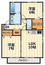 神奈川県綾瀬市落合北5丁目の賃貸アパートの間取り