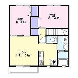 ハイツ花田2[2階]の間取り