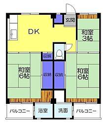ビレッジハウス勝田4号棟[203号室]の間取り
