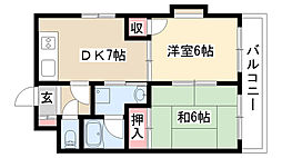 愛知県名古屋市昭和区川原通7丁目の賃貸マンションの間取り