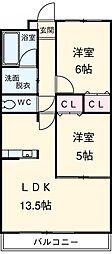 愛知県安城市横山町浜畔上の賃貸マンションの間取り