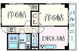 兵庫県西宮市南郷町の賃貸マンションの間取り