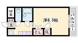 JR播但線 野里駅 徒歩28分の賃貸マンション 3階1Kの間取り