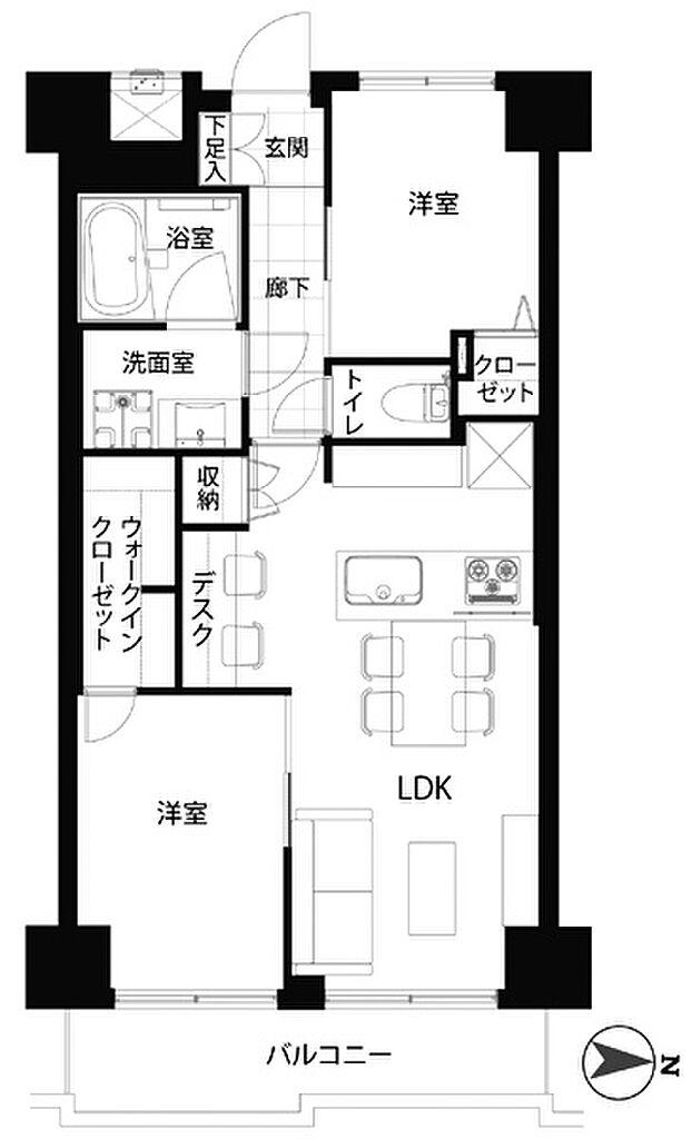 間取り(2階部分、専有面積51.71平米の2LDK。室内リフォーム完成しました。当日のご見学も可能です。)
