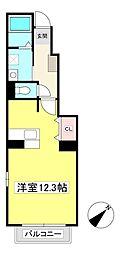 シャトー松田 1階ワンルームの間取り