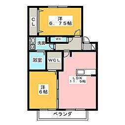 リバーベル[2階]の間取り