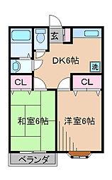 神奈川県横浜市港北区下田町6丁目の賃貸アパートの間取り