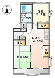 シャトー小松原III[4階]の間取り