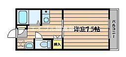 岡山県倉敷市水江の賃貸アパートの間取り