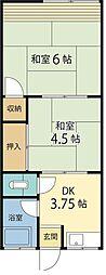 花の木荘[2E号室]の間取り