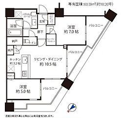 シティタワー武蔵小山  タワー棟 6階2LDKの間取り