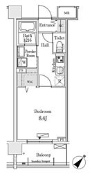 東京メトロ有楽町線 豊洲駅 徒歩12分の賃貸マンション 3階1Kの間取り