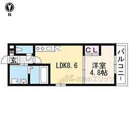 近鉄京都線 伏見駅 徒歩3分の賃貸マンション 1階1LDKの間取り